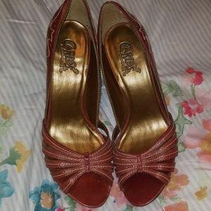 Carlos Santana red open toe heels